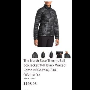 Women's Northface Thermoball camo NWT